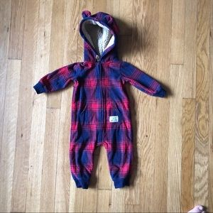Carter's Red And Blue Plaid Hooded Fleece Size 6m